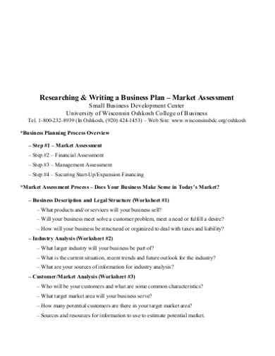 market business plan assessment