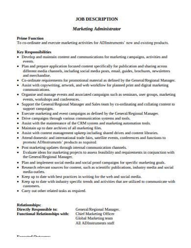 marketing administrator job description