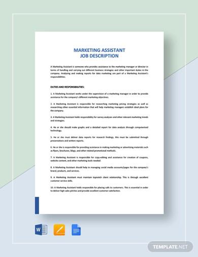 marketing assistant job description template