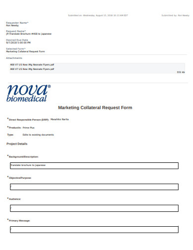 marketing collateral request form