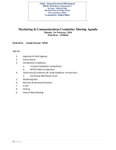 marketing communications committee meeting agenda