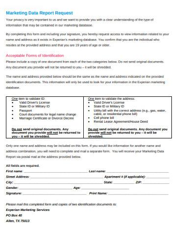 marketing data report request form