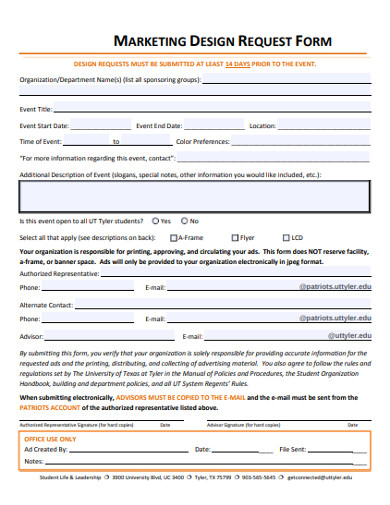 marketing design request form