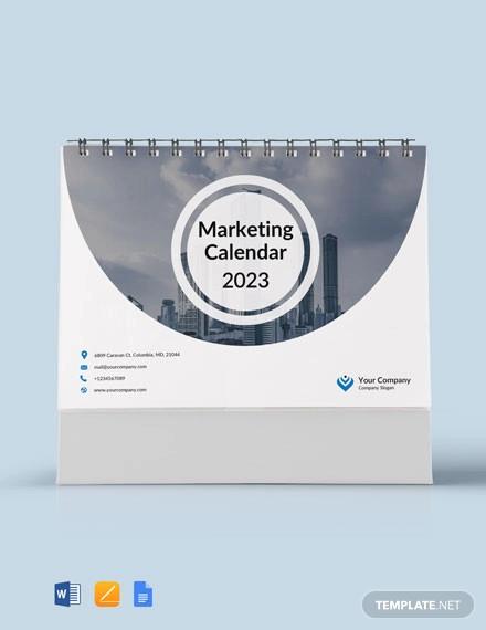 marketing desk calendar template