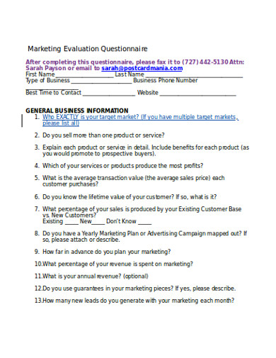marketing evaluation questionnaire