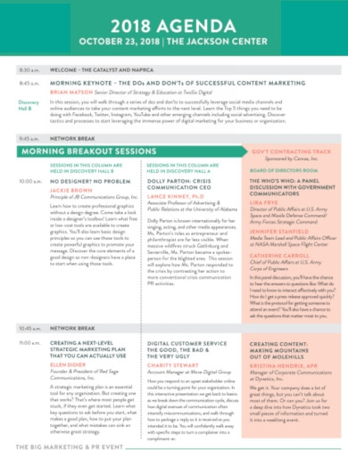 marketing event agenda