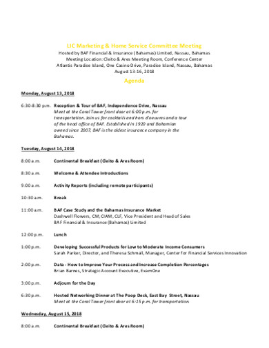 marketing home service committee meeting agenda