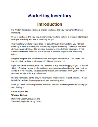 marketing inventory example