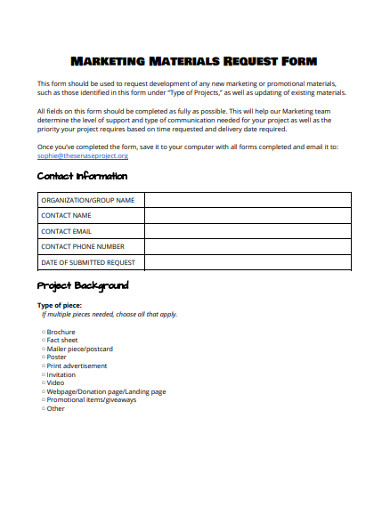 marketing materials request form
