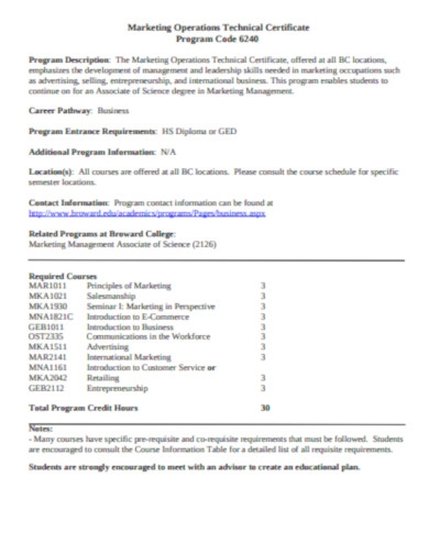 marketing operations technical certificate
