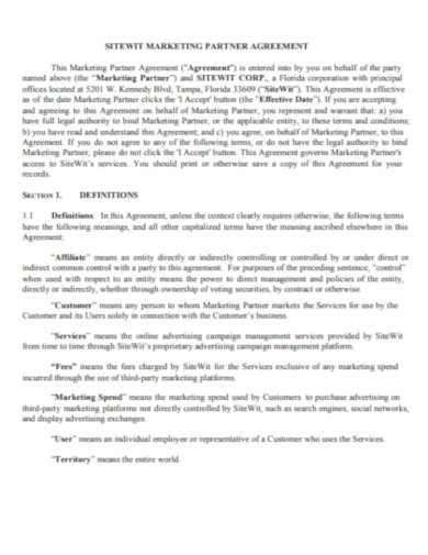 marketing partner agreement affiliates