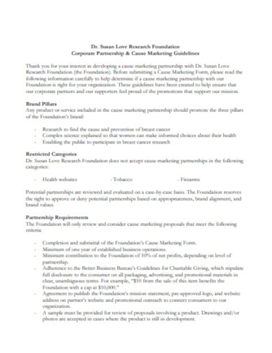 marketing partnership agreement guidelines