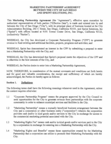marketing partnership agreement