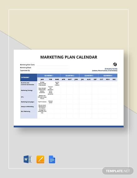 marketing plan calendar template