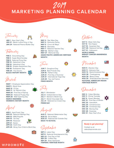marketing planning calendar