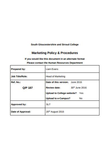 marketing policy procedures
