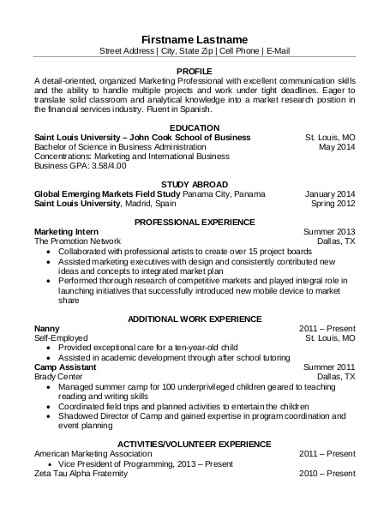 marketing professional resume