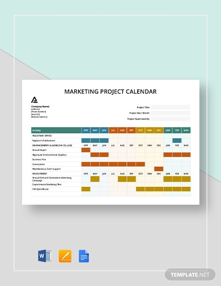 marketing project calendar template