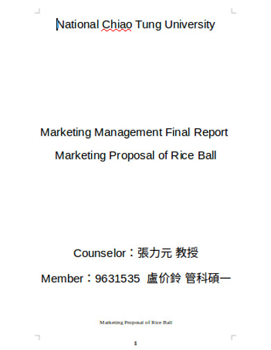 marketing proposal of rice ball