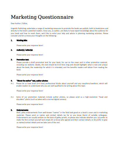 marketing questionnaire in pdf