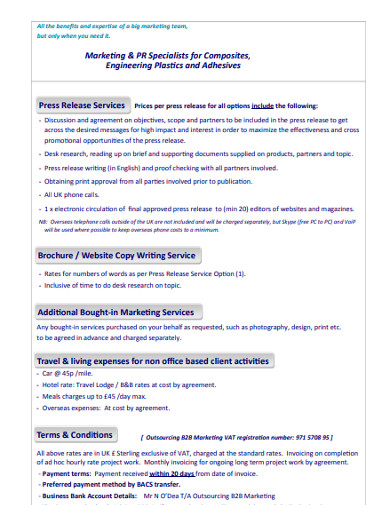 marketing services rate card