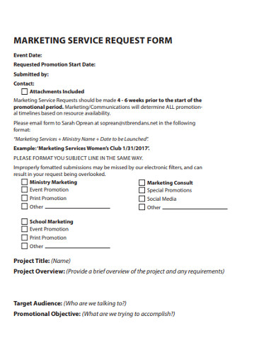 marketing services request form