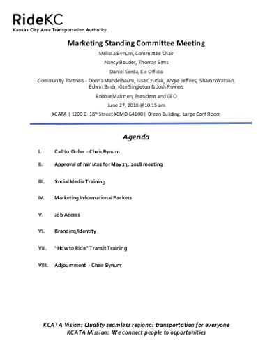 marketing standing committee meeting agenda