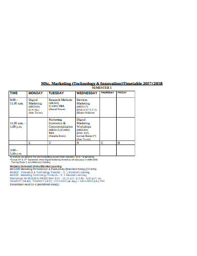 marketing timetable in pdf