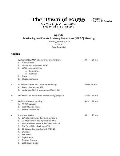 marketing and events advisory meeting agenda