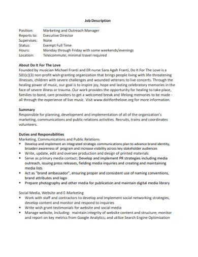 marketing and outreach manager job description