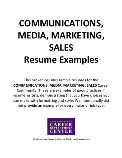 marketing sales resume examples