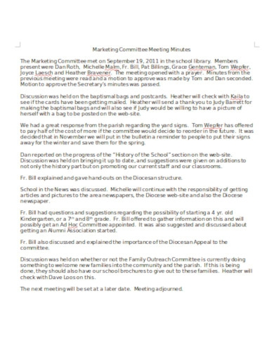 markets committee meeting minutes