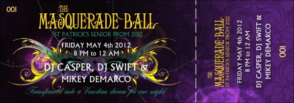 masquerade ball costume party ticket