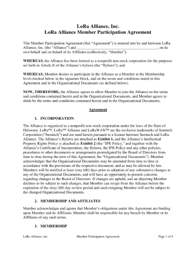 member participation agreement