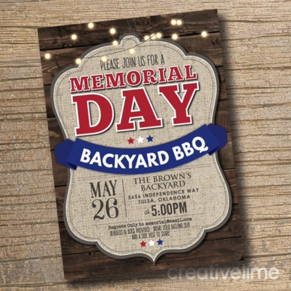 memorial day bbq party invitation