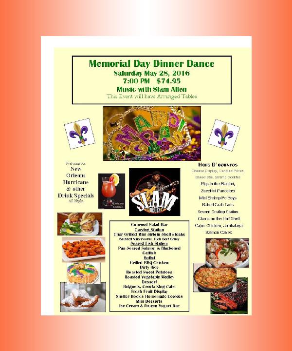 memorial day dinner menu