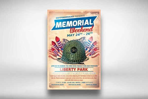 memorial day event flyer template