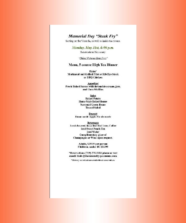 memorial day fine dining menu