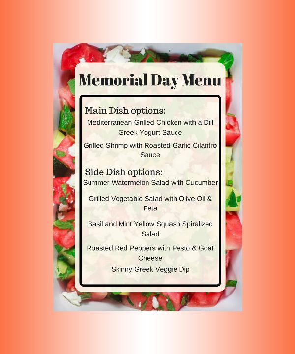 memorial day mediterranean menu
