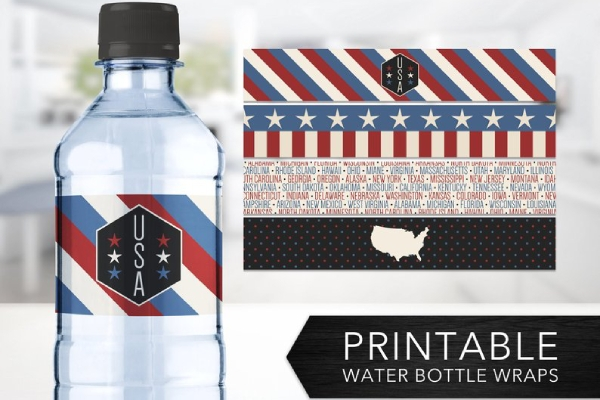 memorial day water bottle label