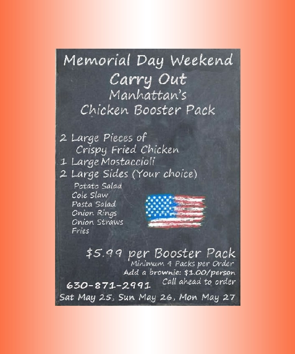 memorial day weekend carry out menu