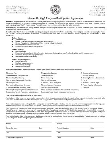 mentor protégé program participation agreement