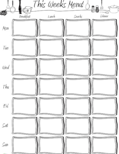 menu planner sheet