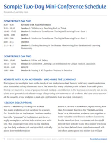 mini conference schedule