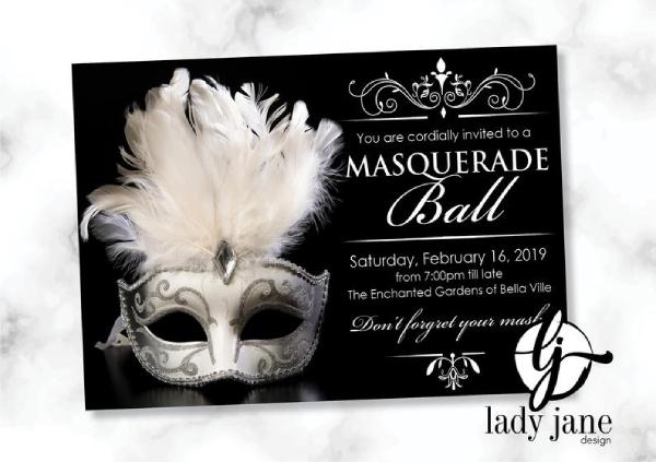 minimalist masquerade ball invitation