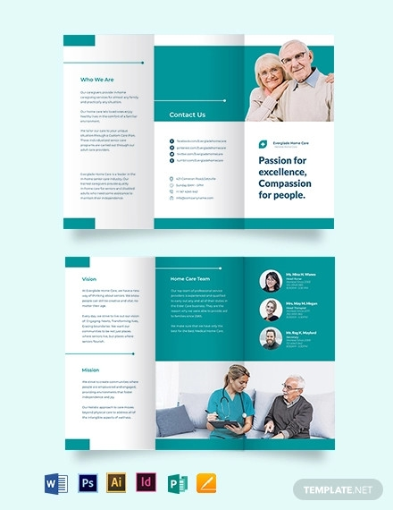 modern home care tri fold brochure template