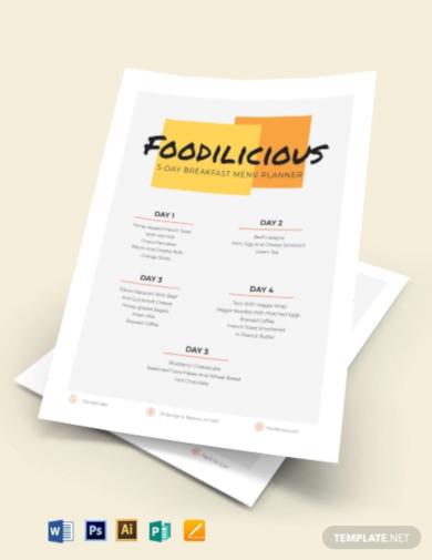 modern menu planner template