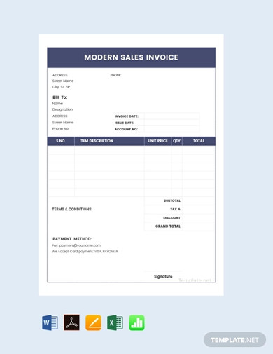 modern sales invoice template