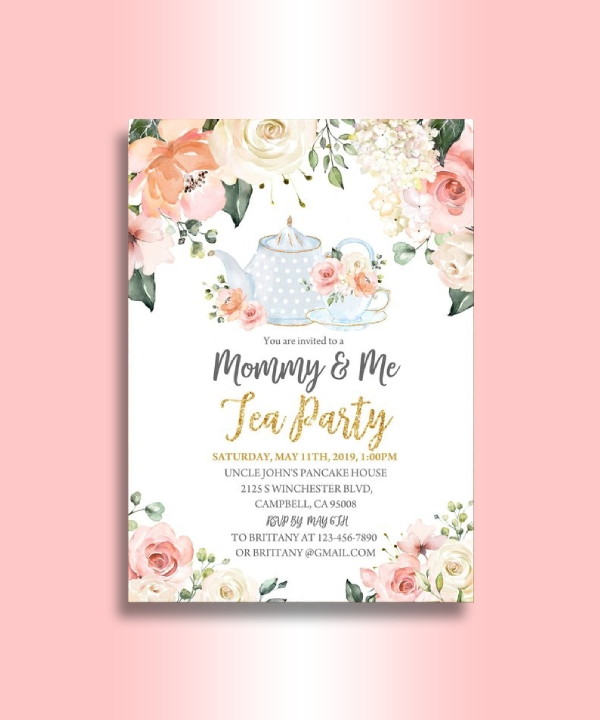 mommy and me tea party invitation