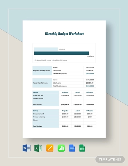 monthly budget sheet template